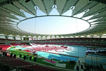 Century Lotus Stadium tensile roof in China