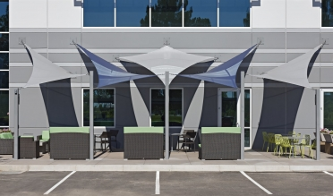 shade sails with Soltis 92 by International Tension Structures