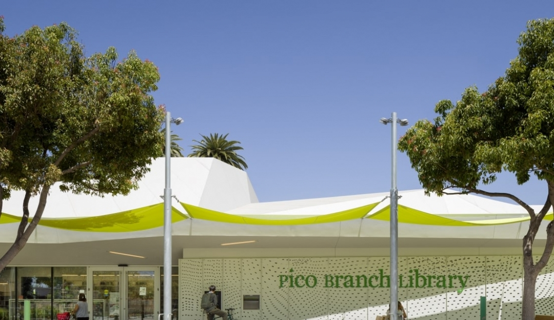 Pico Branch Library with lime-green color shade canopy
